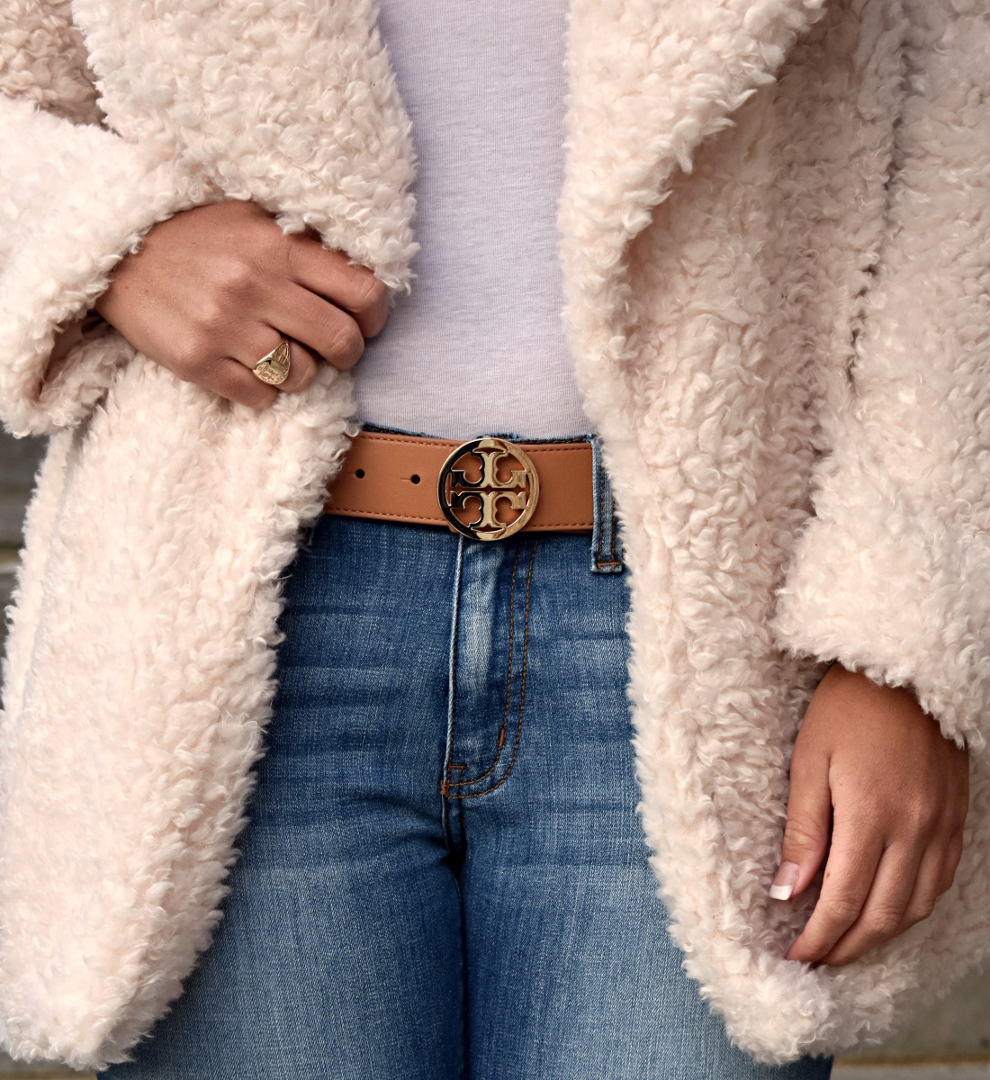 Blush Fur Coat + Fringe Jeans
